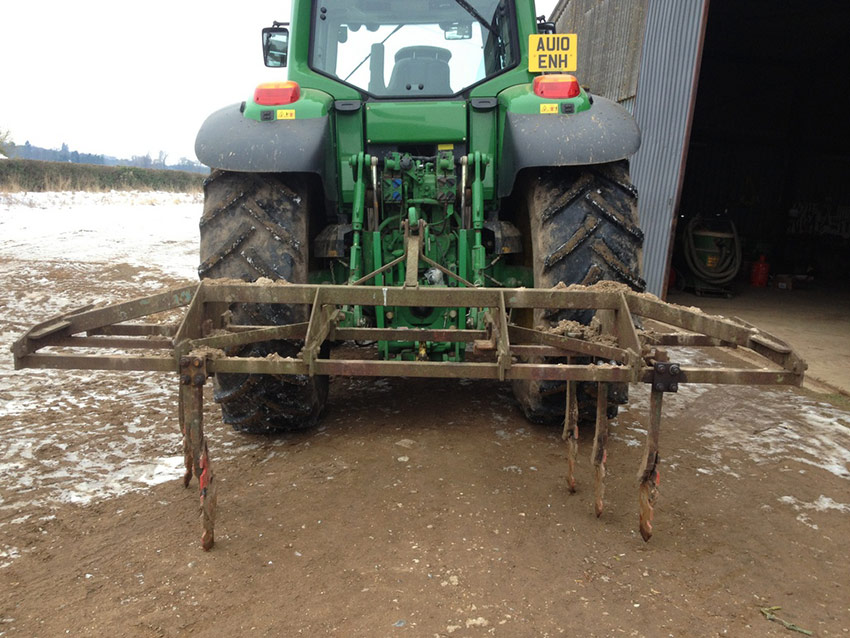 Tramline cultivator made from old cultivator and used plough parts (photo J Harriman)